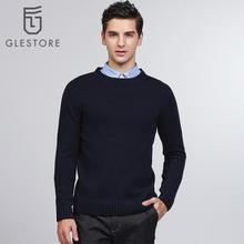 Glestore 2017 New Mens Wool Knit Pullover Long Sleeved O-neck Elbow Pad Knitting-sweaters-for-men Brand-clothing Male Sweaters