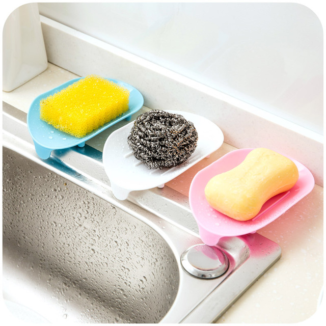 4 Color Soap Dish Soap Saver Holder Tray Bathroom Kitchen Drying ...