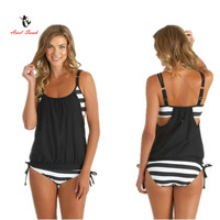 Ariel Sarah Brand 2016 Swimsuit Sexy Bikini Set Plus Size Swimwear Women Black Bathing Suit Striped