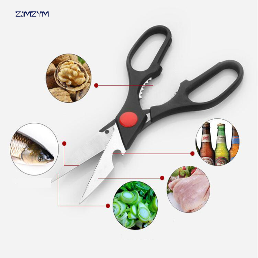1pc Multifunctional Stainless Steel Poultry Kitchen scissor Nutcracker Bottle opener Bone Cutter Cook Tool shear cut in Kitchen Knives from Home Garden