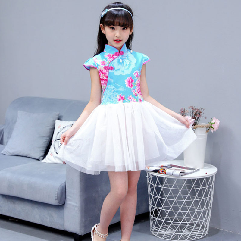 Купить с кэшбэком 2018 Summer Children Girl Cheongsam Dress Chinese Traditional Qipao Short Sleeve Dress Cotton Girl Skirt Children Cheongsam
