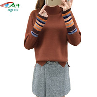 JQNZHNL 2017 New Women Turtleneck Knitting Sweater Tops Fashion Long Sleeved Jumpers Ladies Short Striped Sweater
