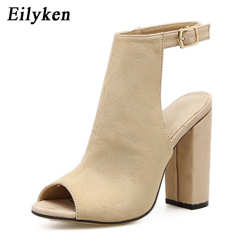 Eilyken 2018 New Summer Fashion Open Toe Women Sandals Ankle Strap Square heel Back Strap Gladiator Sandals For Women все цены