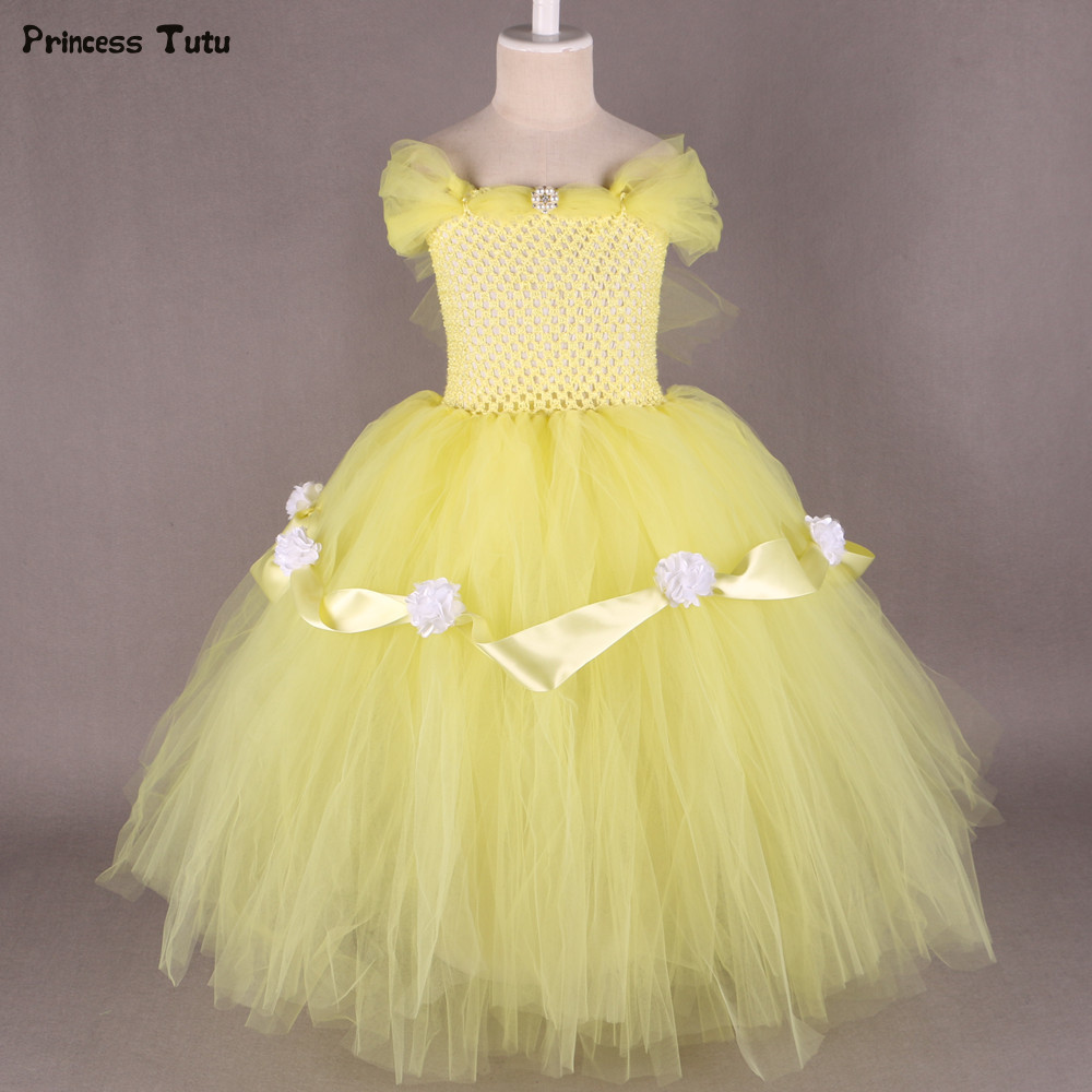 Beauty and Beast Belle Princess Dress Yellow,Red Flower Girl Tutu Dress Tulle Kids Girl Birthday Party Dress Halloween Costume ea7 ea7 ea002emhee61