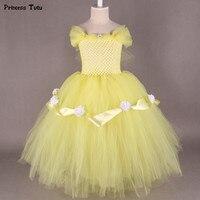 Piękna i Bestia Belle Księżniczka Sukienka Żółty, Czerwony Kwiat Dziewczyna Tutu Sukienka Tiul Dzieci Dziewczyna Birthday Party Dress Halloween kostium