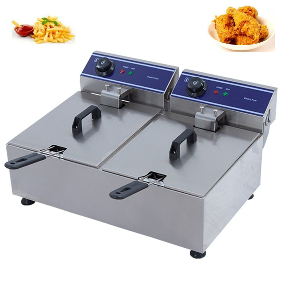 Stainless Steel double tank electric fryer machine 20L Electric Commercial Deep Fryer French Fries Fried Chicken Frying Machine hot sale electric deep fryer commercial electric fryer french fries fried chicken deep frying furnace