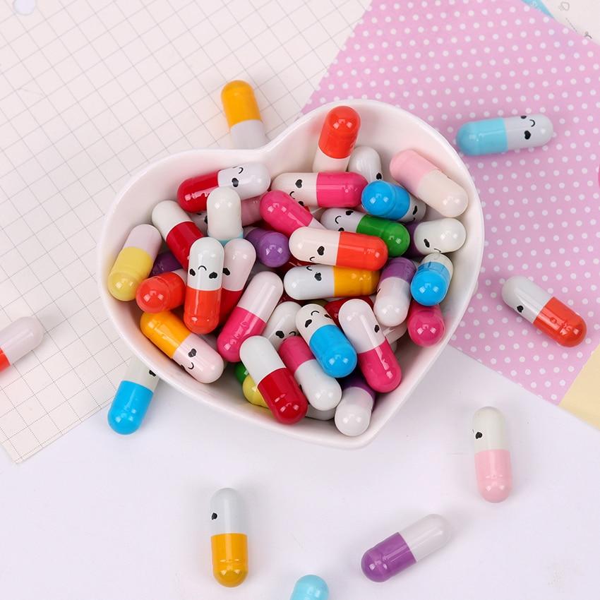 50PCS New Fashion Children Capsule Letter Paper Kawaii Emoticon Smile Pill Love Blank Message Capsule Envelope Letter Paper