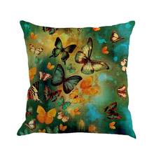 Butterfly Painting Linen Cushion Throw Waist Sofa Home Decor Home Furnishings Bedding Article # Z(China)