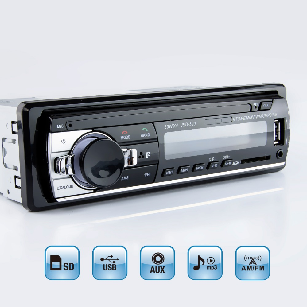 Viecar Lettore MP3 FM Auto Radio Stereo Audio Musica USB SD Bluetooth Digitale con In Dash Slot AUX Input