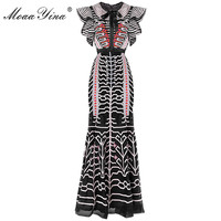 MoaaYina Slim Package buttocks Designer Runway Sheath Dress Summer Women's Bow Butterfly Sleeve Mesh Stripe Embroidery Dress