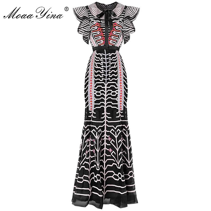 MoaaYina Slim paquet fesses Designer piste gaine robe d'été femmes noeud papillon manches maille rayure broderie robe