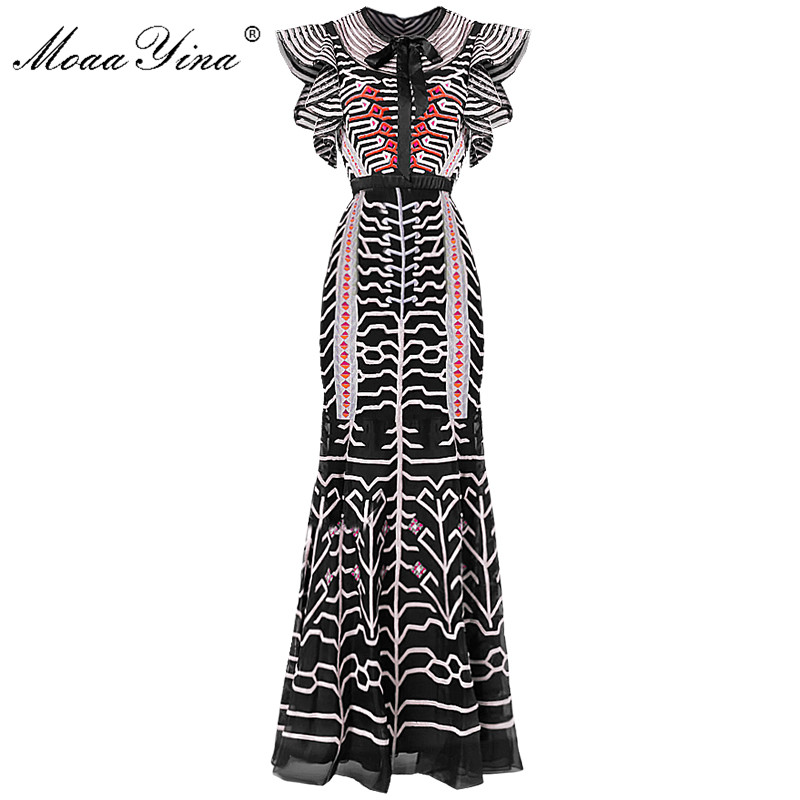 MoaaYina Slim paquet fesses Designer piste gaine robe d'été femmes noeud papillon manches maille rayure broderie robe-in Robes from Mode Femme et Accessoires on AliExpress - 11.11_Double 11_Singles' Day 1