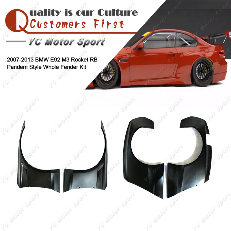 Car Accessories FRP Fiber Glass PD Style Fender Kit Fit For 2007 2013 E92 M3  RB Front Rear Fender Flare Cover|Mudguards| |  - title=
