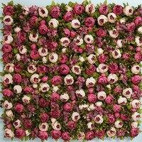 8ft x 8ft наивысшего качества роскошный красный цветок фон Свадебный цветок стены Искусственный Пион с зеленая трава оформление сцены