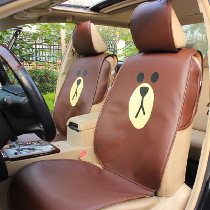 Cartoon Leather Car Seat Cover Protector Brown Bear Chicken Auto Interior Seats Cushion Universal Size Front Back Covers Sets hot sale car seat back covers protectors for children protect back of the auto seats covers for baby dogs drop shipping