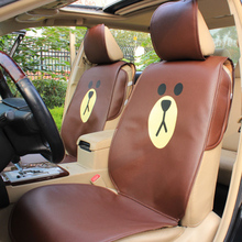 Cartoon Brown Duck Leather Car Seat Cover Auto Interior Styling Set