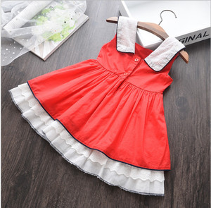 Image 2 - Summer Baby Girl Sleeveless Red Vintage Spanish Dress Red Palace Style Dress for Girls Party Dress Princess Dress 100% Cotton