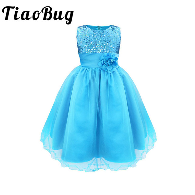 TiaoBug Girls 10 Colors Sequined Flower Pageant Prom Party Ball Dress Kids  Gown First Communion Dance Dresses 4-14Y for Wedding 6a9e2eaeab20