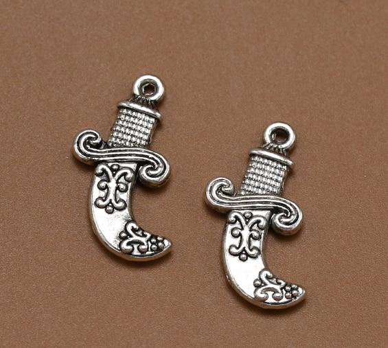 12 шт. изысканный ножи для карвинга кинжал Шарм Подвески 24*15 мм 1 г старинное серебро детская Подарочная Драгоценная Серьга браслет ожерелье