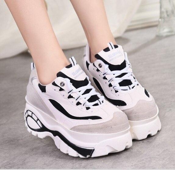 d090f6877ed8 B japanese harajuku style women retro black white trifle platform big head  shoes student sneakers new