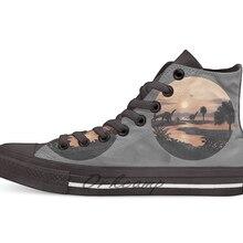 Jurassic/пляжная Новинка; дизайнерская Повседневная парусиновая обувь; обувь на заказ; Прямая