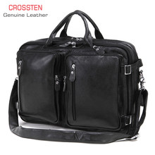 2019 New Natural Cowskin 100% Genuine Leather Men's multifunctional Briefcase Large Capacity Business Shoulder bag 17 Laptop Bag(China)
