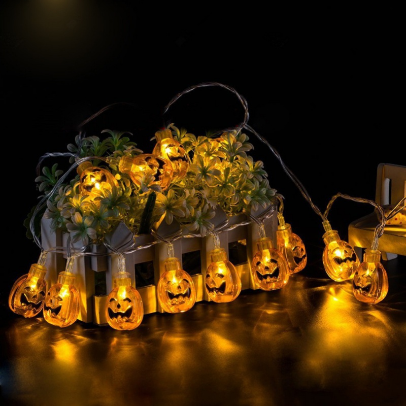 Halloween String Lights 5M 28LED Luminous Pumpkin Skull Ghost Decorative Lights Indoor Waterproof 3D Lights for Party Decor