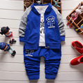 2016 spring autumn cotton denim newborn boys set  coat+t shirt+pants 3pcs toddler boys suits