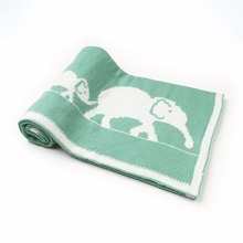 Cute Elephant Printed Soft Knitted Swaddle Blanket