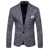 2018 New Arrival Business mens blazer Casual Blazers Men lattice Formal jacket Popular Design Men Dress Suit Jackets M 4XL