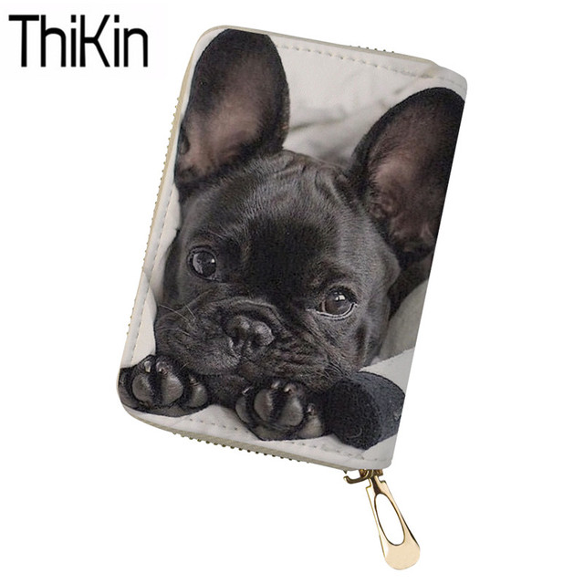 THIKIN Women Card Holders for Credit Card Ladies Portable Card Wallets French Bulldog 3D Printing Money Bags Feminine Sac A Dos