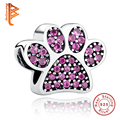 Luxury Jewelry 925 Sterling Silver Heart Crystal Charms with Footprint ,Butterfly,Minnie Beads Fit Pandora Bracelet Necklace