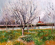 Orchard in Blossom (Plum Trees) by Vincent Van Gogh Handpainted