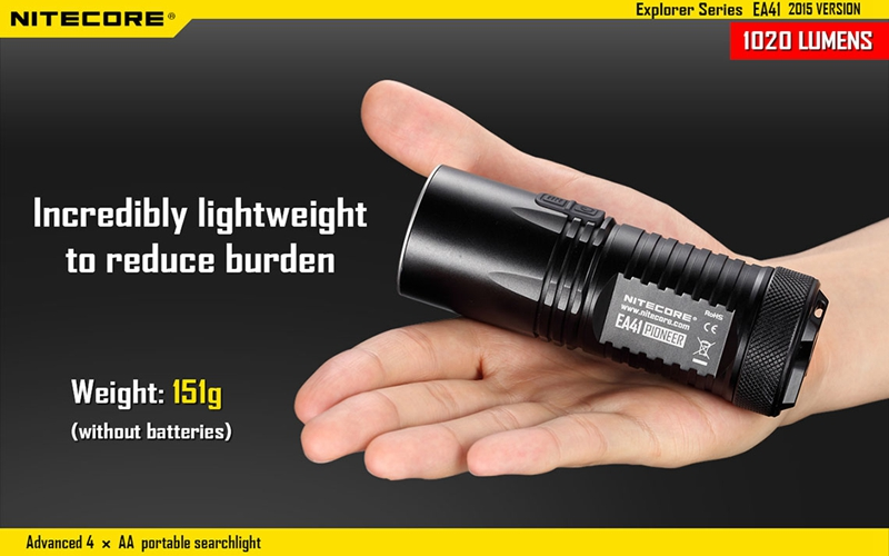 Nitecore EA41 1020lm 5 modes Waterpoof Cool White XM-L2 U2 led lamp light Flashlight AA Torch 315m Not Battery alonefire 3aa 395nm uv ultra violet blacklight 8w 51 led flashlight torch lamp light with aa battery powered
