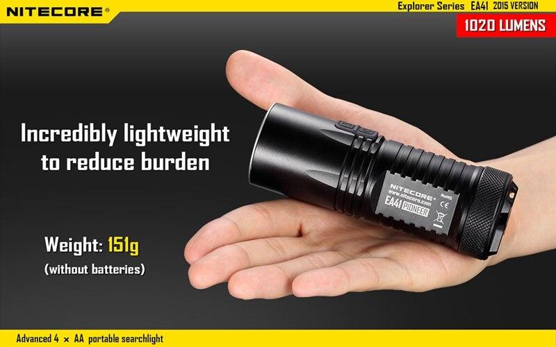 Nitecore EA41 1020lm 5 modes Waterpoof Cool White XM-L2 U2 led lamp light Flashlight AA Torch 315m Not Battery aa battery flashlight nitecore ea41 ea41w cree xm l2 u2 led max 1020 lumen beam distance 335 meter waterproof torch