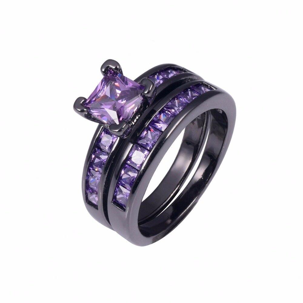 Mode princesse-cut topaze cristal anneau 2-en-1 luxe 10KT plaqué or blanc cz bague de mariage pour les femmes bijoux cadeau taille 5-10