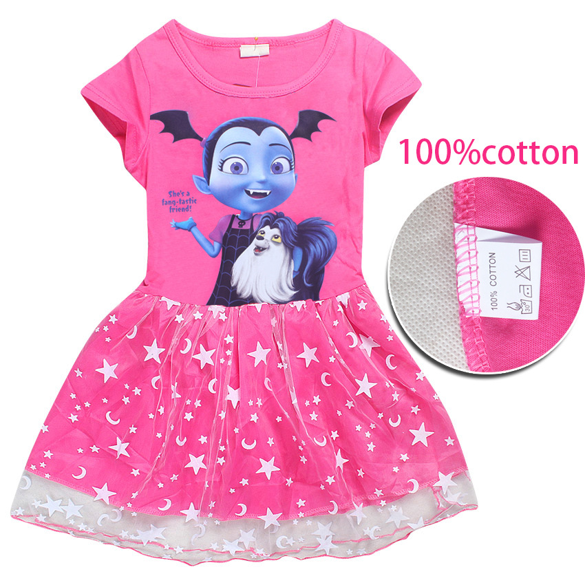Hot Sale Baby Girls Dress Vampirina print Cotton Vestidos Christmas Dress Princess Costume for Kids Clothes Children Dresses
