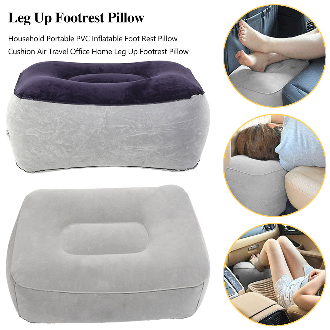 Soft Footrest Pillow PVC Inflatable Foot Rest Pillow Cushion Air Travel Office Home Leg Up Relaxing Feet Tool