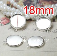 Free shipping!!! 200pcs silver plated  Double rings Cameo Frame Settings Connectors fit 18mm