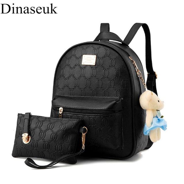 Dinaseuk Small 2 Sets Women s PU Leather Backpack College School Travel  Shoulder Bag Mini Daypacks Rucksack For Lady Girl Bags 7ee54ad741467