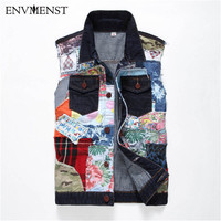 2018 Men's Denim Jacket Jeans Vest Sleeveless Cowboy Vest Patchwork Loose Waistcoat Men's Street Wear Summer Dress Coats