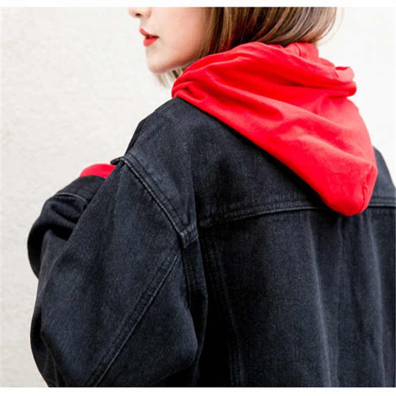 2019 Lente Black Bomber Denim Jas Vrouwen Vintage Elegante Uitloper Jeans Jas Jassen Denim Vrouwelijke