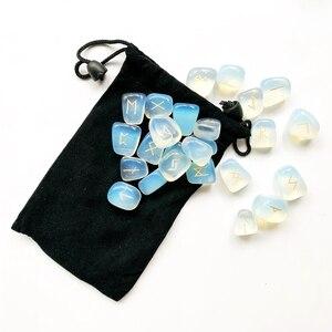 Image 3 - Juego de Runas de Piedra ópalo de opalita blancas, amuleto de piedras caídas de adivinación, vikingas runas, piedras, Burbuja, manualidad casera Feng Shui