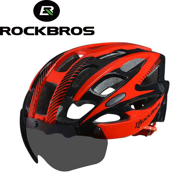 ROCKBROS Bicycle EPS Helmet With Lenses Integrally-molded 28 air vents Cycling Bike Equipment Helmet Casco Ciclismo Free Size цена
