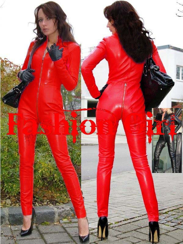 Free shipping red leather catsuit for women sexy clubwear for Red leather shirt for womens