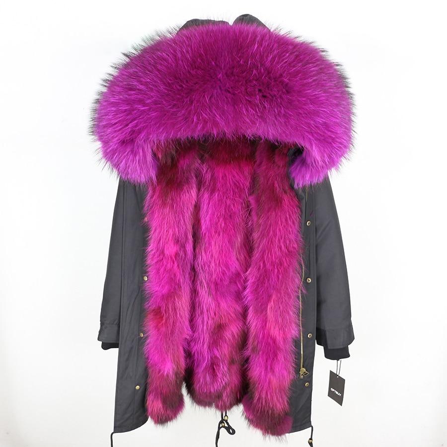 2019 Real Fur Coat Winter Jacket Women Long Parka Waterproof Big Natural Raccoon Fur Collar Hood Thick Warm Real Fox Fur Liner 127
