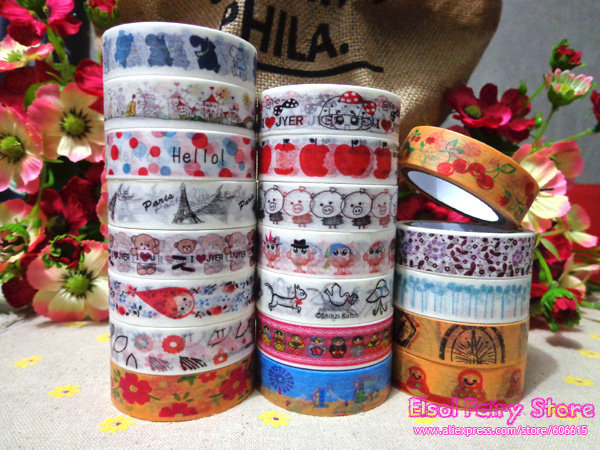 Wholesale 50pcs 32 Cartoon Pattern Washi Tape Masking Tape for party favor bag gift Candy box decoration
