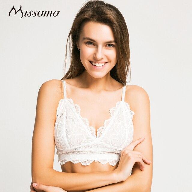 fe4ec9abe9b16 Missomo 2018 New Fashion Women Trim Underwear White Sexy Push Up Lace  Bralettes Trim Underwear Adjustable Strap Soft Bras