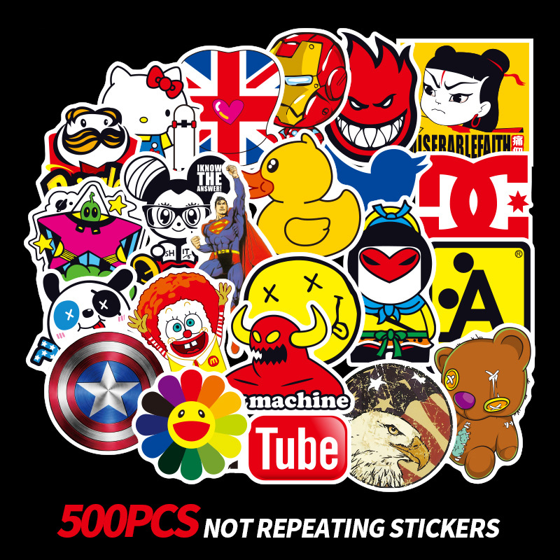 500Pcs Not Repeating Cartoon Stickers For Car Laptop PVC Backpack Home Cute Decal Pad Bicycle Waterproof Decal For Toys