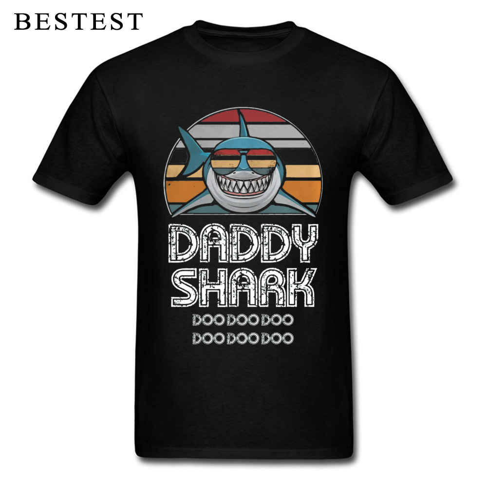 Fathers Day T Shirt Men Letter Tops Daddy Shark T-Shirt Doo Gift Tee Shirts Retro Cartoon Plus Size Graphic TShirt Cotton Funny